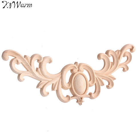 KiWarm Best Promotion Oval Mirror Onlay Wood Oak Carved Corner Applique For Home Furniture Wall Cabinet Door Decor Craft 28x11cm