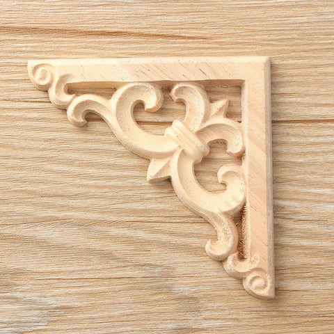 Newest Retro Wood Carved Decal Corner Onlay Applique Frame Furniture Wall Unpainted For Home Cabinet Door Decor Crafts 8*8cm