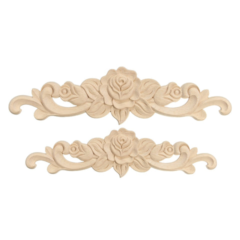 KiWarm Retro Rose Floral Wood Carved Decal Corner Applique Decorate Frame Wall Doors Furniture Decorative Wooden Figurines Crfts