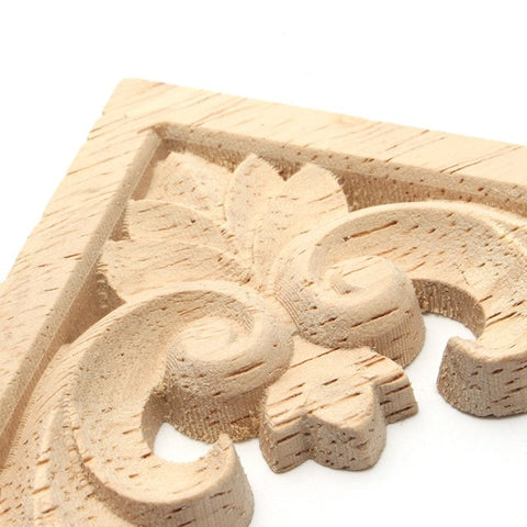 4 Styles Vintage Wood Carved Decal Corner Onlay Applique Frame Furniture Wall Unpainted For Home Cabinet Door Decor Craft