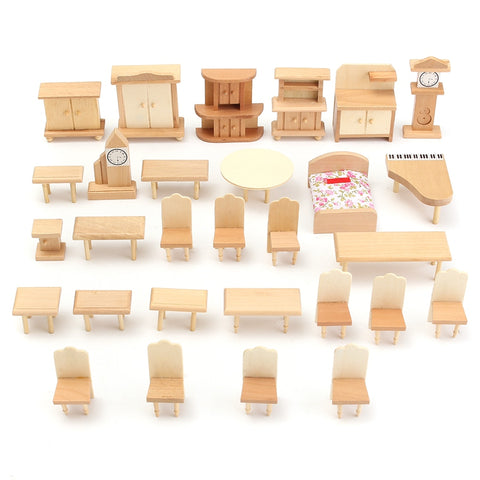 New Fashion 29Pcs/Set 1:24 Scale Doll House Miniature Unpainted Wooden Furniture Model For Decorate Toy Home Accessory Gifts