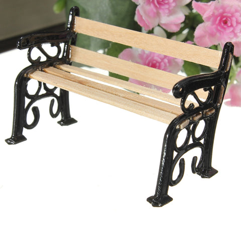 Mini 1:12 Wooden Bench Black Metal Dolls House Miniature Garden Furniture Accessories For Home Decor Kids Gift Craft Ornament