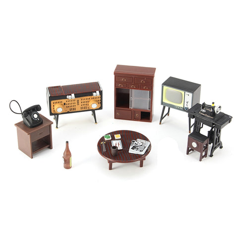 1 Set Vintage Miniature Doll House Furniture Sewing Machine Telephone Ornaments Toys For Home Decor Crafts Kids Gifts