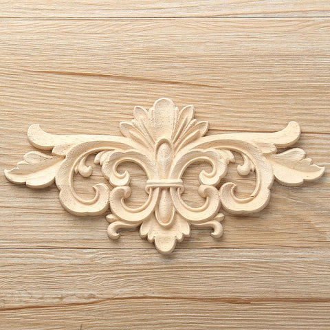 Vintage Unpainted Wood Carved Decal Corner Onlay Applique Frame For Home Furniture Wall Cabinet Door Decor Crafts 22*10cm