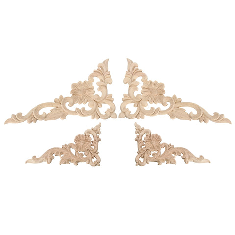 New Wood Carved Corner Onlay Applique Frame Decor Furniture Craft Unpainted For Home Cabinet  Decorative Figurines Craft