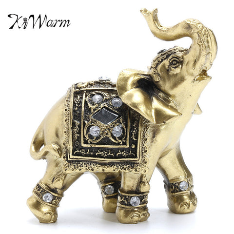 KiWarm Vintage Feng Shui Elegant Elephant Trunk Statue Lucky Wealth Figurine Gift and Home Decoration