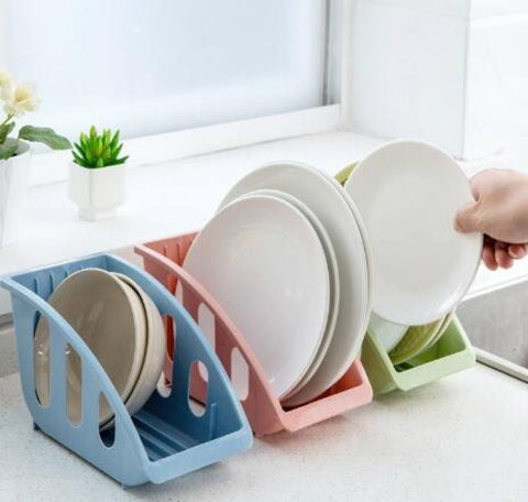 Dish Plate Drying Rack Organizer Drainer Plastic Storage Holder Kitchen 5 Slot Dish Storage Rack