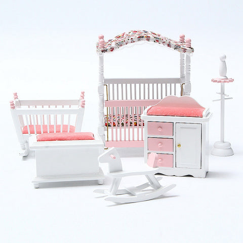 Cute 6PCS Wooden Dollhouse Bedroom Furniture Toys Set Miniature Kids Play Toy Canopy Bed Rocking Chair Hobbyhorse Cabinet
