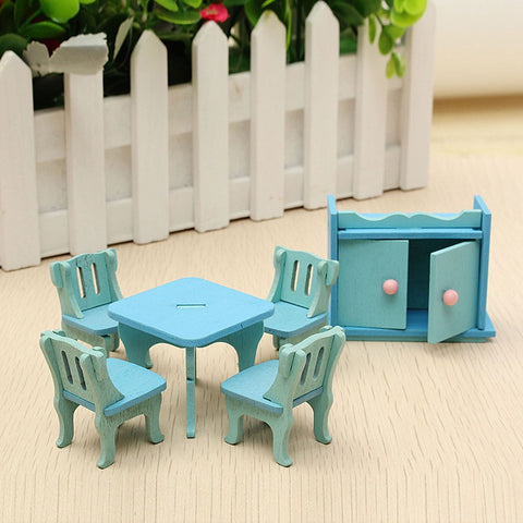 1 Set Blue Wooden Doll House Furniture Dinning Miniature For Kids Play Toy Figurines Ornaments Gadget for Home Decor Craft