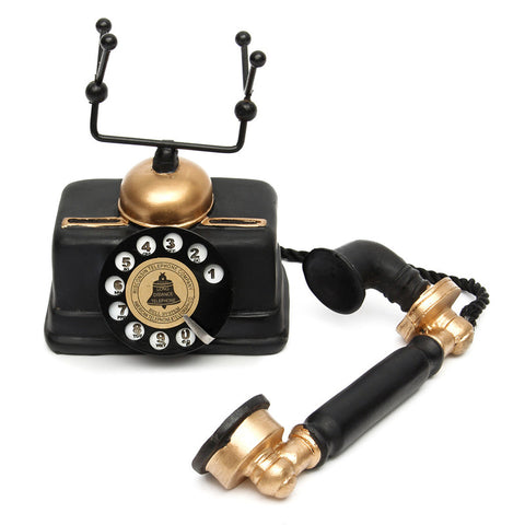 Retro Vintage Rotary Telephone Statue Antique Shabby Chic Old Phone Figurine Decor for Home Desk Decoration Holidays Gifts