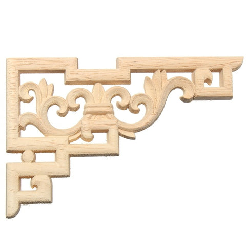 Fashionable 1PC 15x10cm Wood Carved Corner Applique Wood Carving Decal Frame Decorative Sculptures for Home Door Furniture Decor