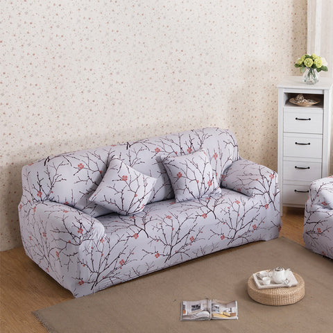 Plum Blossom Printed Sofa Cover Spandex Stretch Couch Cover Elastic Corner Sofa Furniture Protector Slipcover For 1/2/3/4 Seater