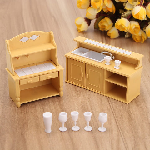 Modern Miniatures Furniture Household Kitchen Dresser Cabinet Dressing Table Doll House Figurines Ornaments Crafts Kids Gift