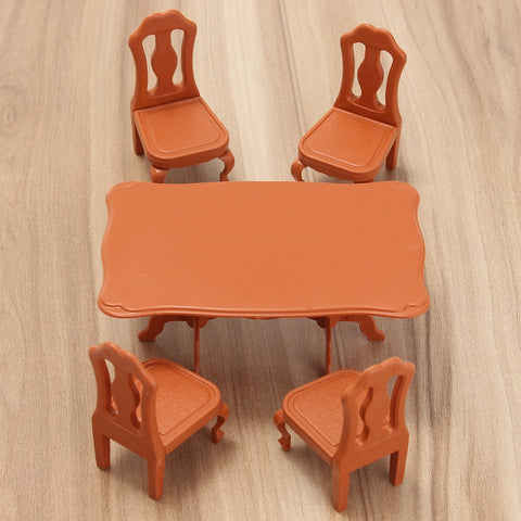 Mini Dining Table Chairs Furniture Set Ornaments Miniatures Doll House Craft Figurines Photography Prop Decor Kids Gifts