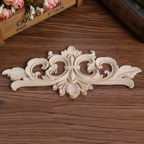 Floral Woodcarving Decal Wood Carved Corner Applique Frame Wall Doors Cabinet Furniture Decorative Figurines