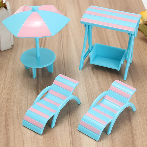 4Pcs/set Miniature Blue Plastic Beach Scene Set Dolls House Furniture Ornaments Figurines DIY For Kids Furniture Toy Gift