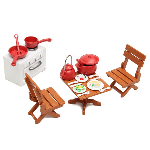 KiWarm Cute 1 Set Miniatures Kitchen Dining Furnitures Table Chairs With Cooking Tools Dolls Ornaments for Home Decor Kids Toy