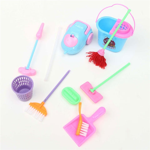 Mini Fun Set Of 9Pcs Doll House Home Furniture Cleaning Set Furnishing Cleaner Kit DIY Ornament Craft Kids Gifts