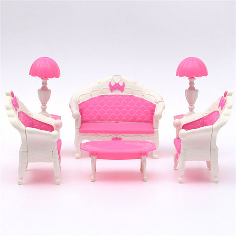 Mini 6Pcs Lovely Pink Dollhouse Doll Furniture Playset Living Room Parlour Sofa Set For Dolls House Accessories Ornament