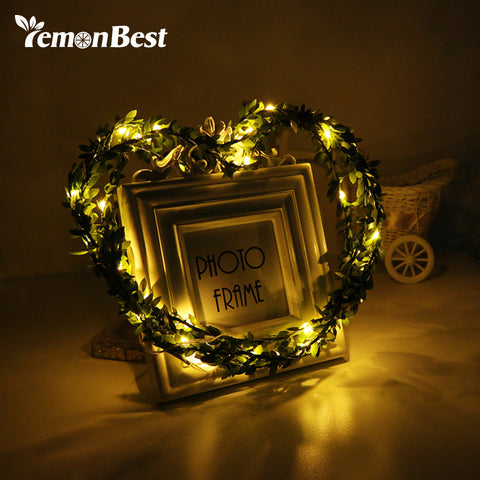 3m/10ft 30-LED Fairy Light Green Leaves Garland Copper Wire String Lamp