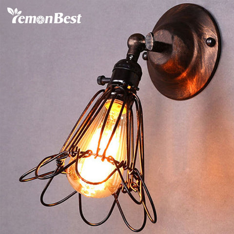LemonBest E27 Vintage Wall Lamp Birdcage Small Wall Sconce