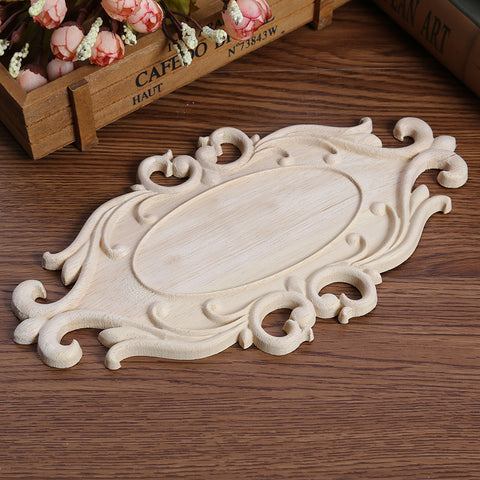 Floral Carved Decal Woodcarving Corner Applique Furniture Wooden Wall Decor Cabinet Wall Door Furniture Decoration Ornaments