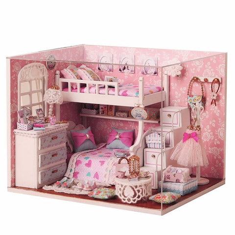 Cute Modern DIY Wooden Dolls House Room Miniature Kit with Furnitures LED Light + Cover Box Ornament Craft Kids Gifts