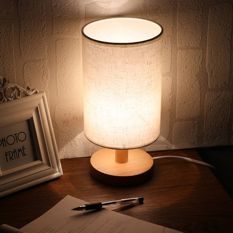 US Plug Minimalist Bedside Desk Lamp with Fabric Shade Solid Wood Base