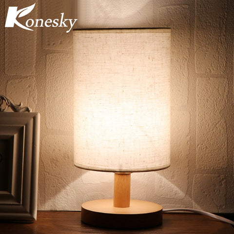 Minimalist Bedside Desk Lamp with Fabric Shade Solid Wood Base