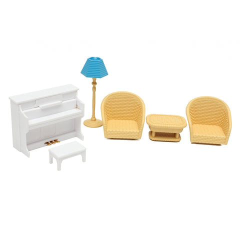 Cute Mini 1 Set Cute Miniature Dolls House Furnitures Tea Table and Sofa Plastic Ornaments for Home Room Decor Kids Toy Doll