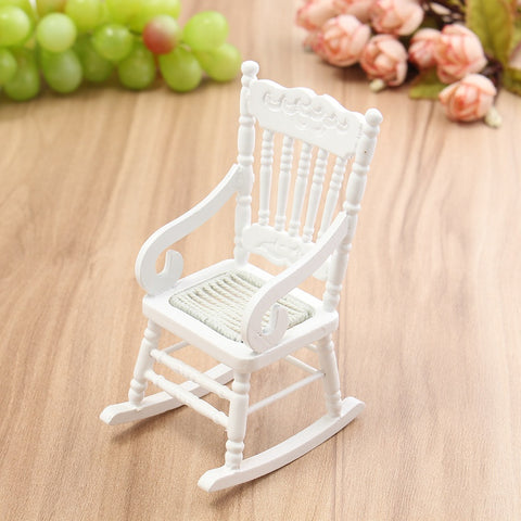 Mini 1:12 Dollhouse Miniature Furniture White Wooden Rocking Chair Hemp Rope Seat For Home Kids Gift Doll Toys Craft