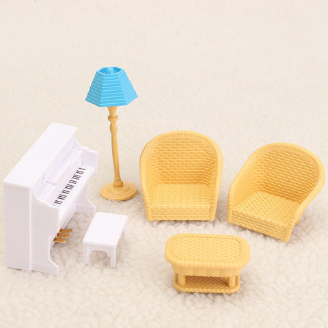 Modern Sofa Piano Table Miniatures Furniture Ornaments Figurines Miniatures Doll House Home Decor Plastic Craft Toy Kids Gift