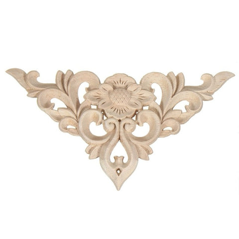 Flower Pattern Unpainted Wood Carved Decal Corner Onlay Applique Frame For Home Furniture Wall Cabinet Door Decor Crafts