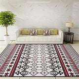 National Style Parlor Living Room Decorative Carpet Floor Door Yoga Mat Pad Bathroom Area Rug Red Black Ethnic Striped Floral