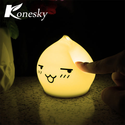 Silicon Night Light Waterdrop LED Lamp Multi-Color Touch Sensor 7 Color Changing Night Lamp for Baby Bedroom Lighting Decor Gift