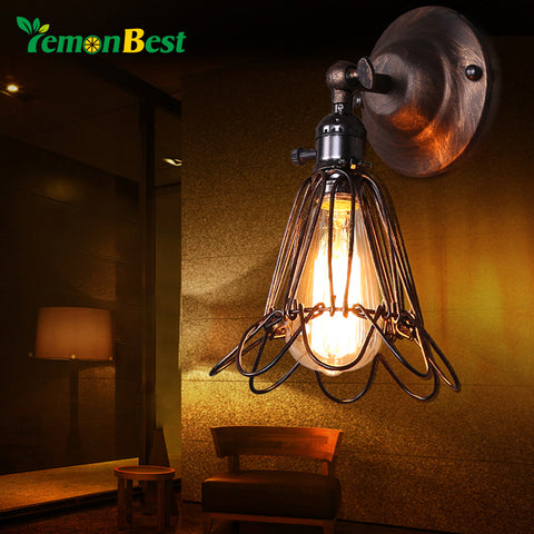 Lemonbest Vintage Lamp Holder Metal Wall Sconce Vintage Small Cage Birdcage Design E27 Lamp Holder Socket For Retro Edison Light
