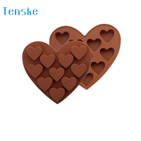 TENSKE Silicone Ice Cube Tray Easy Pop Maker Heart Shape Cubes Mould Valentines Gift U70428