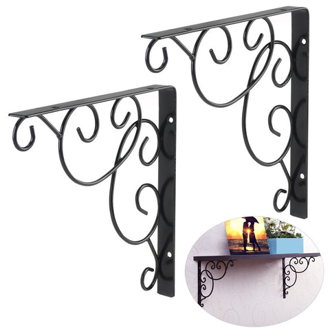 VORCOOL 2pcs Wall Mounted Floral Style Shelf Brackets for Bookrack / Calpboard / Set Top Box
