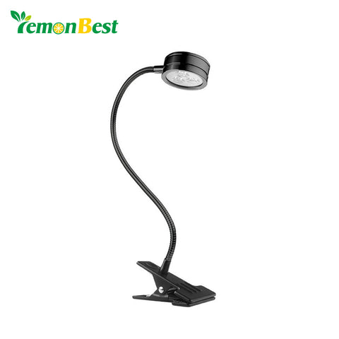 Flexible LED Clip Desk Lamp Table Light Reading Light Bedside Light with Power Switch US Plug AC 100-245V