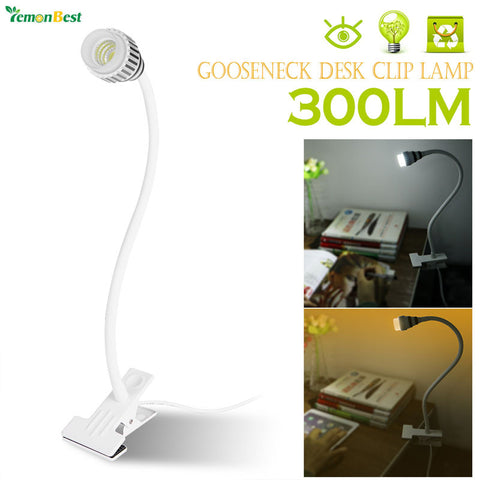 Flexible Gooseneck 3W COB LED Desk Clip Lamp Table Light Tube Bedside Reading Light with Power Switch US Plug AC 85-265V