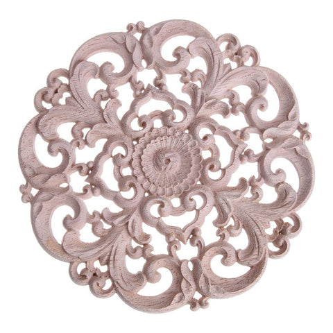 Round Onlay Applique Wooden Wood Carving Decal Furniture Wall Corner Decor For Cabinets Windows Mirrors