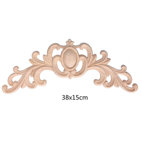 Hot Selling Unpainted Flower Oak Wood Carved Decal Corner Onlay Applique Frame For Home Furniture Door Decorative Crafts 3 Size