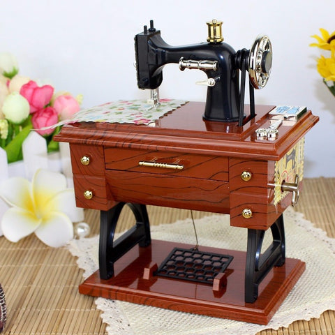 Musical Boxes Treadle Sartorius Toys Retro Birthday Gift Home Decoration Ornament Vintage Lockwork Sewing Machine Music Box