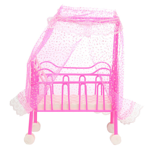 Mini Cute Plastic Dolls Baby Bed Miniature Dollhouse Toy Bedroom Furniture Toy For Dolls Ornament Accessories