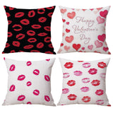 Happy Valentines Day Linen Pillow Cover