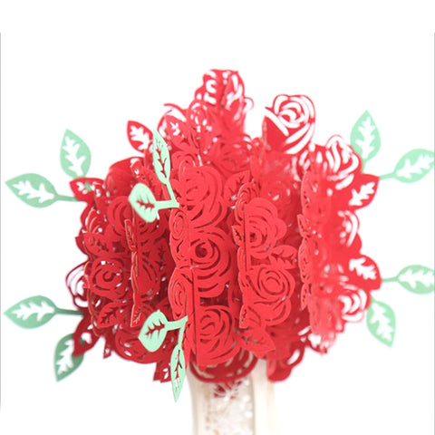 New 1PC 3D Rose Greeting Card Pop Up Paper Cut Postcard Birthday Wedding Valentines anniversary Gift