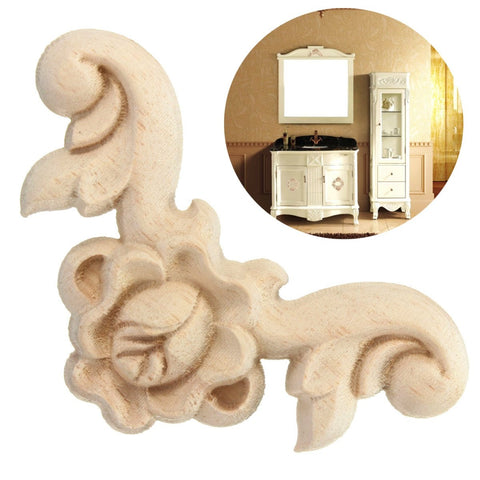 4Pcs 6x6cm Wood Carved Corner Onlay Applique Furniture Wall Unpainted A11 QTY.1 Cabinet Furniture Door Unpainted Frame
