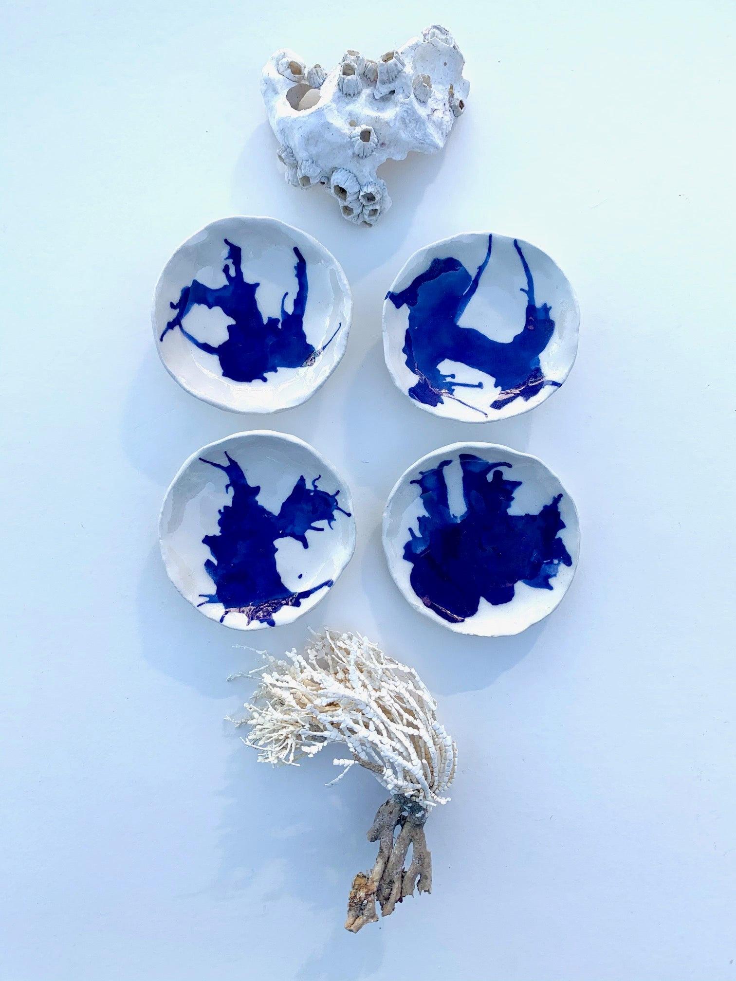 2 cobalt seaweed rests / one of a kind ceramic mini ocean plate sets