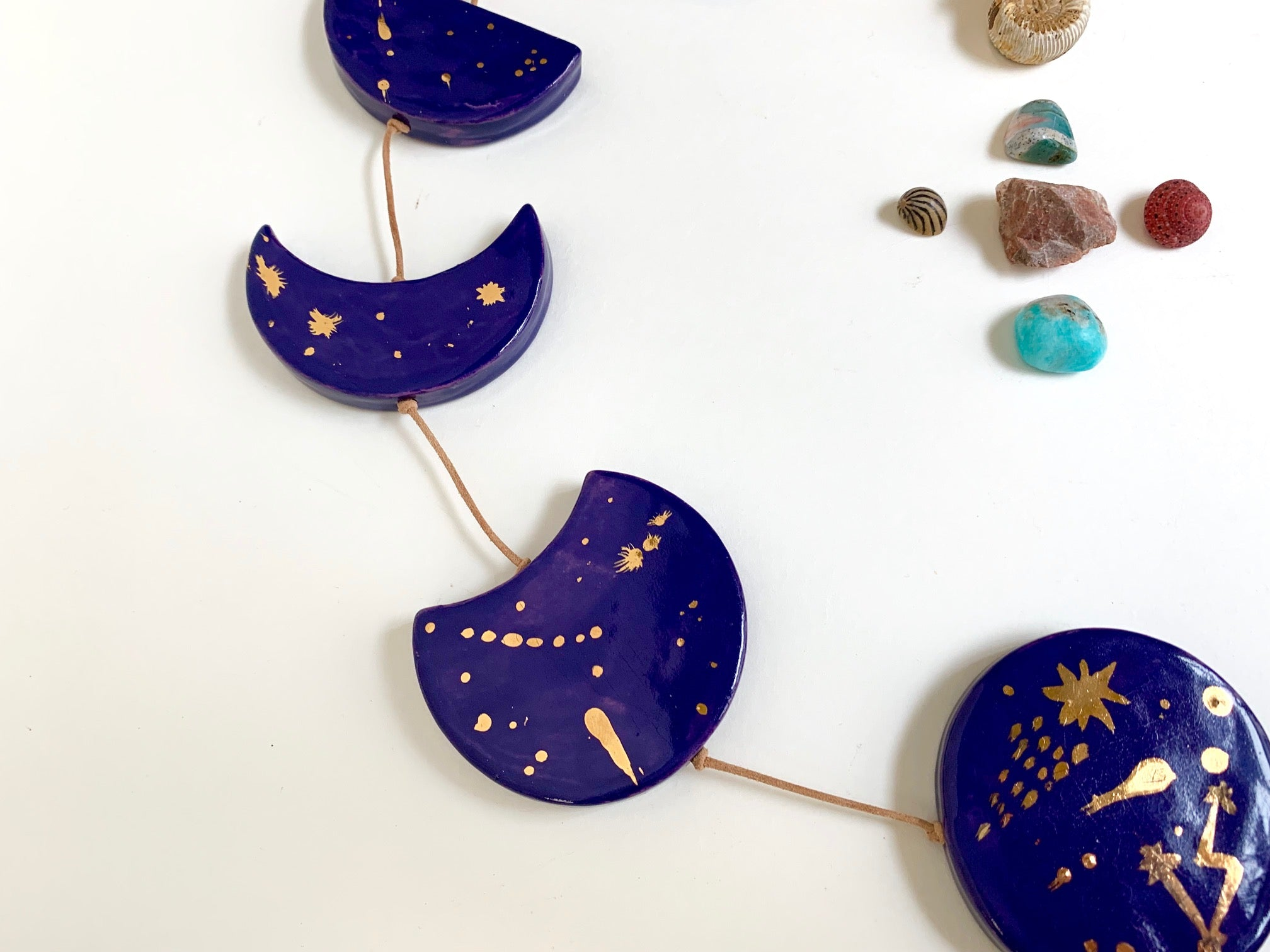 starry night, cobalt & gold horizontal moon phases wall hanging