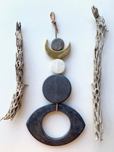 sold - one of a kind, desert rising ceramic hanging